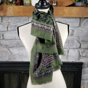 Vtg Compagnie Internationale Express Green Scarf